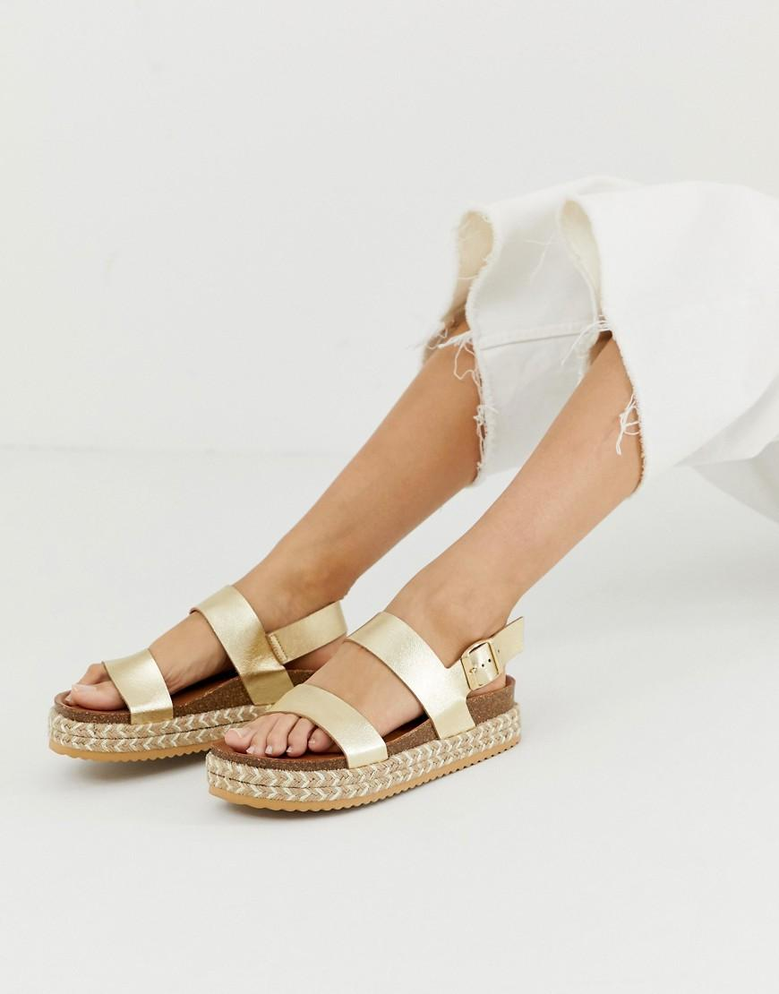 f25d7fdd17 ALDO Ruryan Leather Espadrille Sandals In Gold in Metallic - Lyst