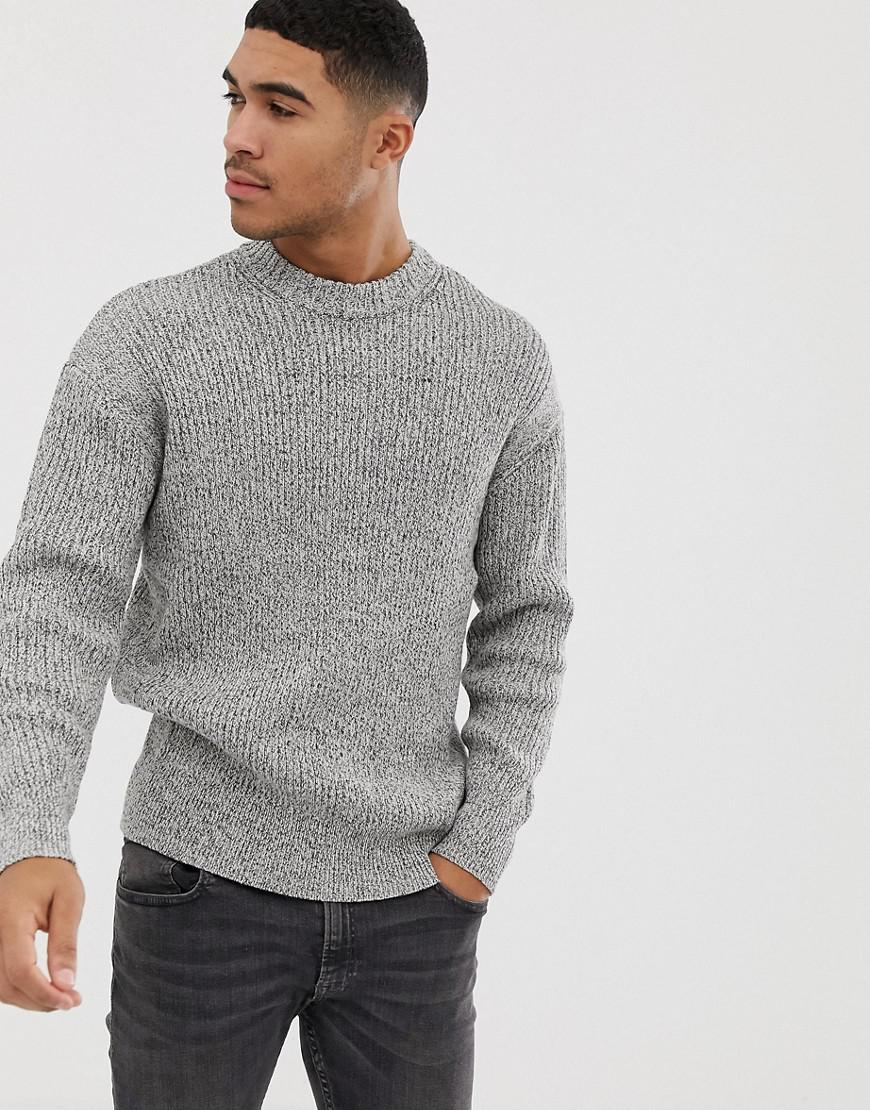 5d198d42aed8 Bershka Knitted Jumper In Grey in Gray for Men - Lyst