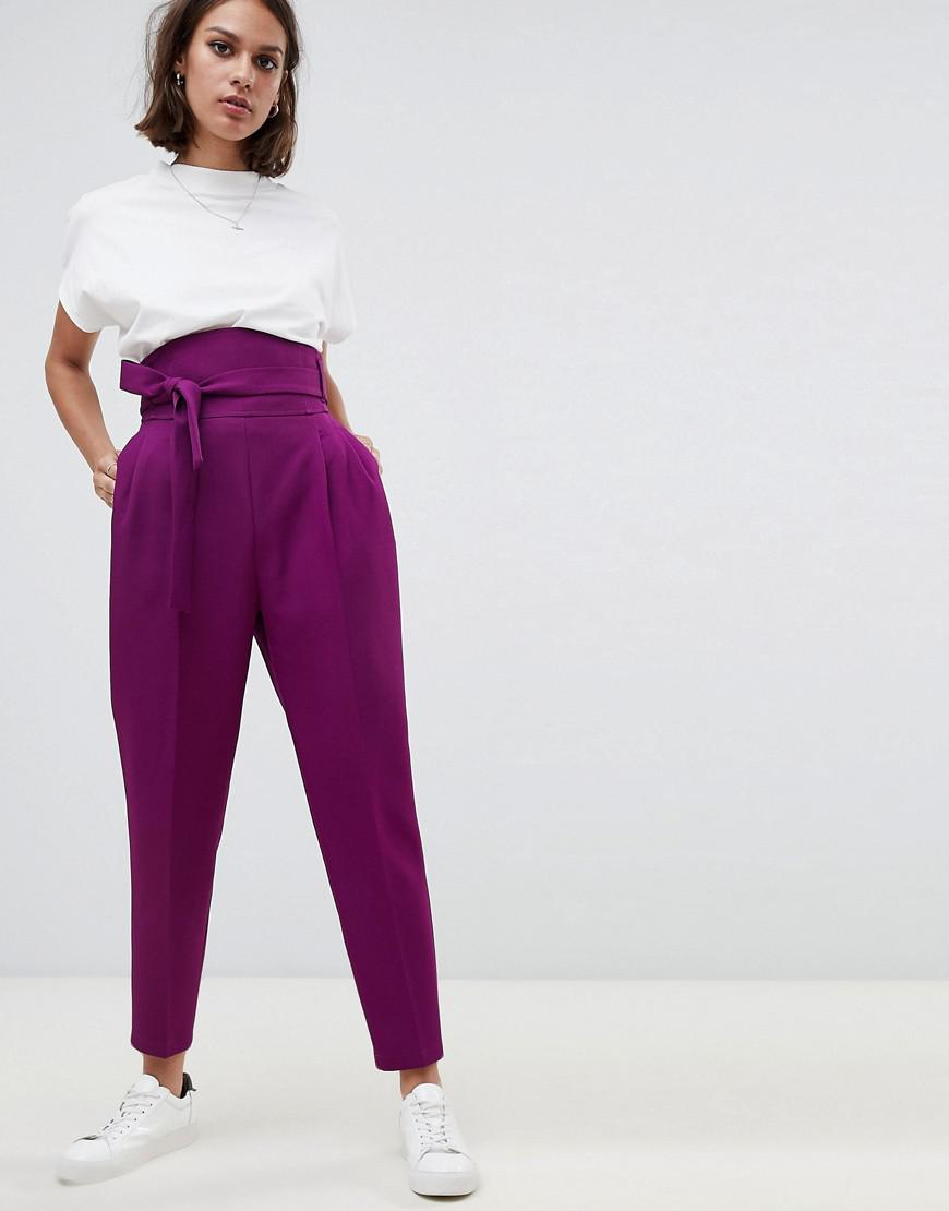 Lyst - ASOS High Waist Balloon Tapered Pants in Purple 8288fac881