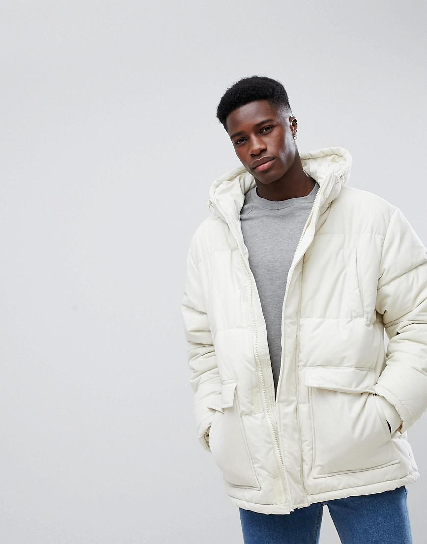 Lyst Weekday Jared Puffer Jacket Off White in Natural for Men