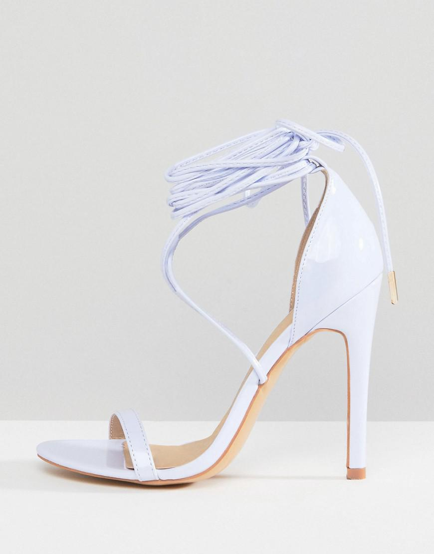 b58f071c775 Truffle Collection Tie Up Stiletto Sandal in Yellow - Lyst