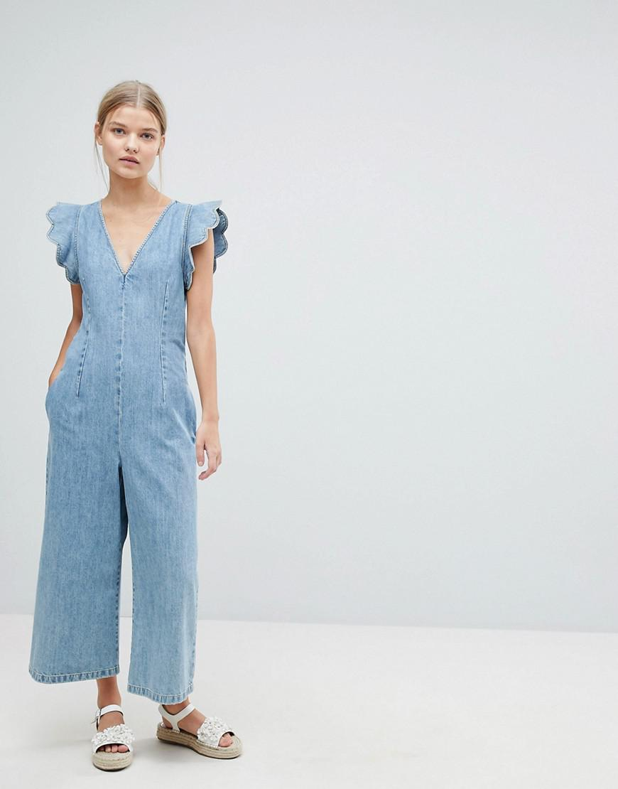 111a9d3d2af Lyst - MAX Co. Max co Cropped Denim Jumpsuit in Blue