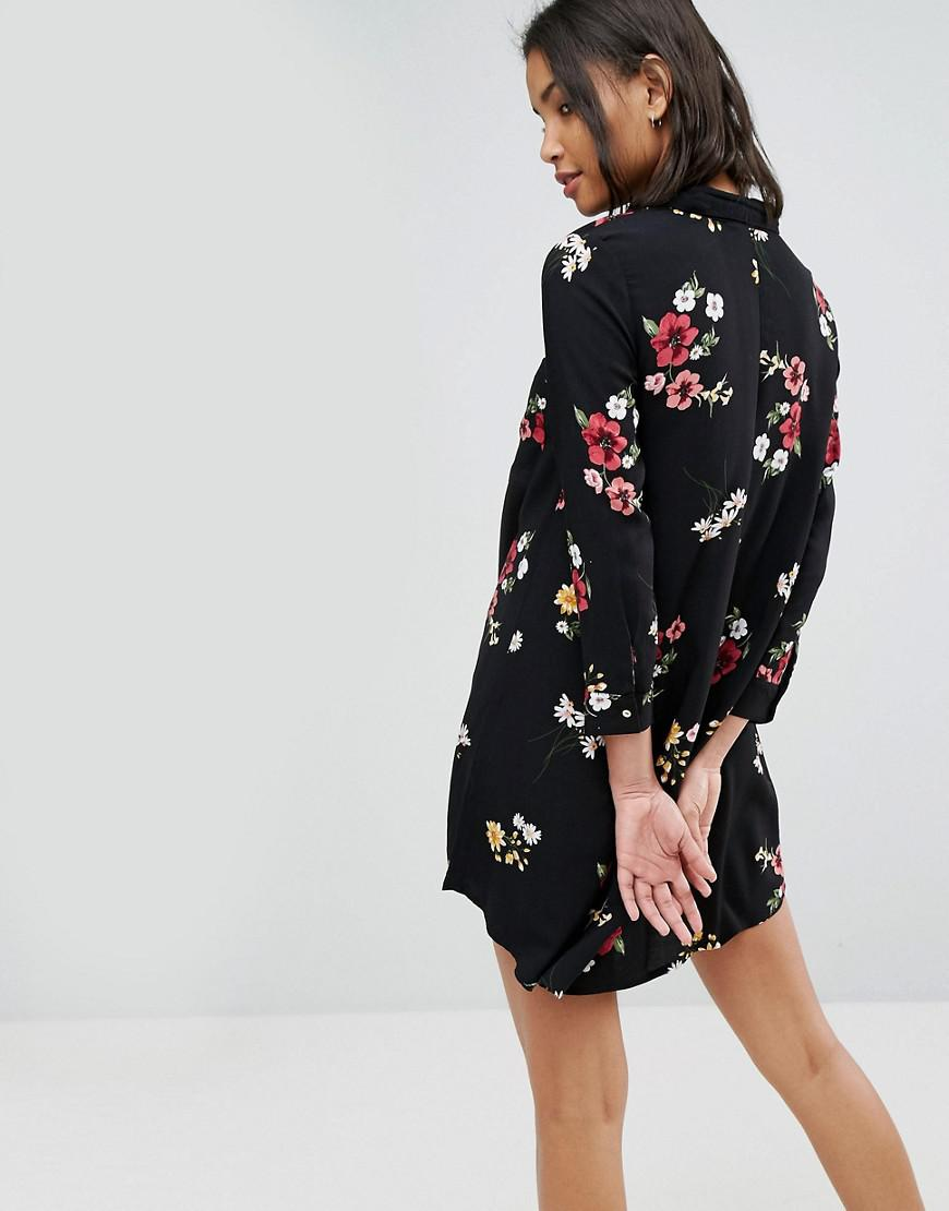 acbe1ebe110 Stradivarius Stradavarius Floral Print Shirt Dress in Black - Lyst