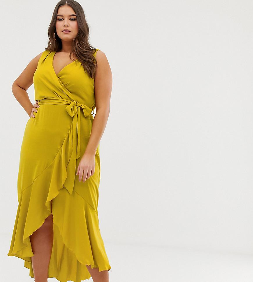 e71a34fc62 Flounce London Wrap Front Midaxi Dress In Chartreuse in Yellow ...