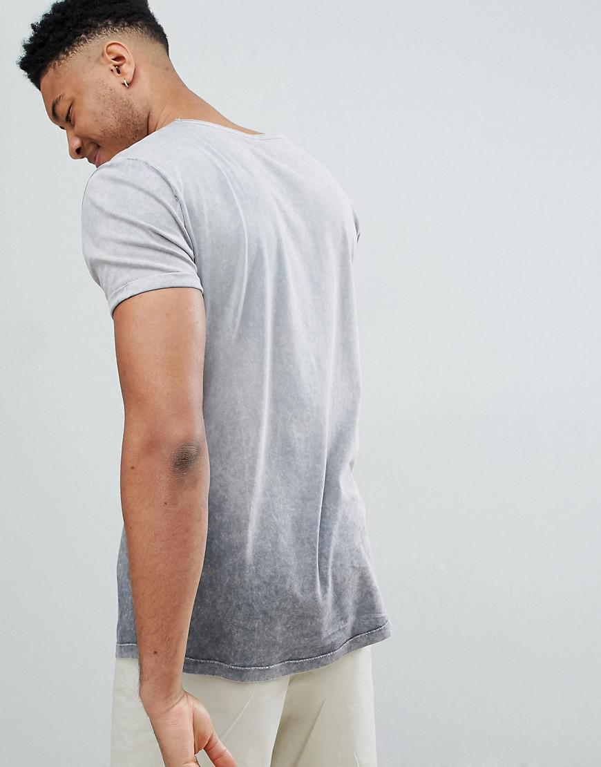 Buy Cheap Discount DESIGN relaxed longline t-shirt with scoop neck and curved hem in ombre acid wash - Grey Asos Best Place Online Free Shipping Wide Range Of Outlet Cheapest Good Selling For Sale MV14F06T