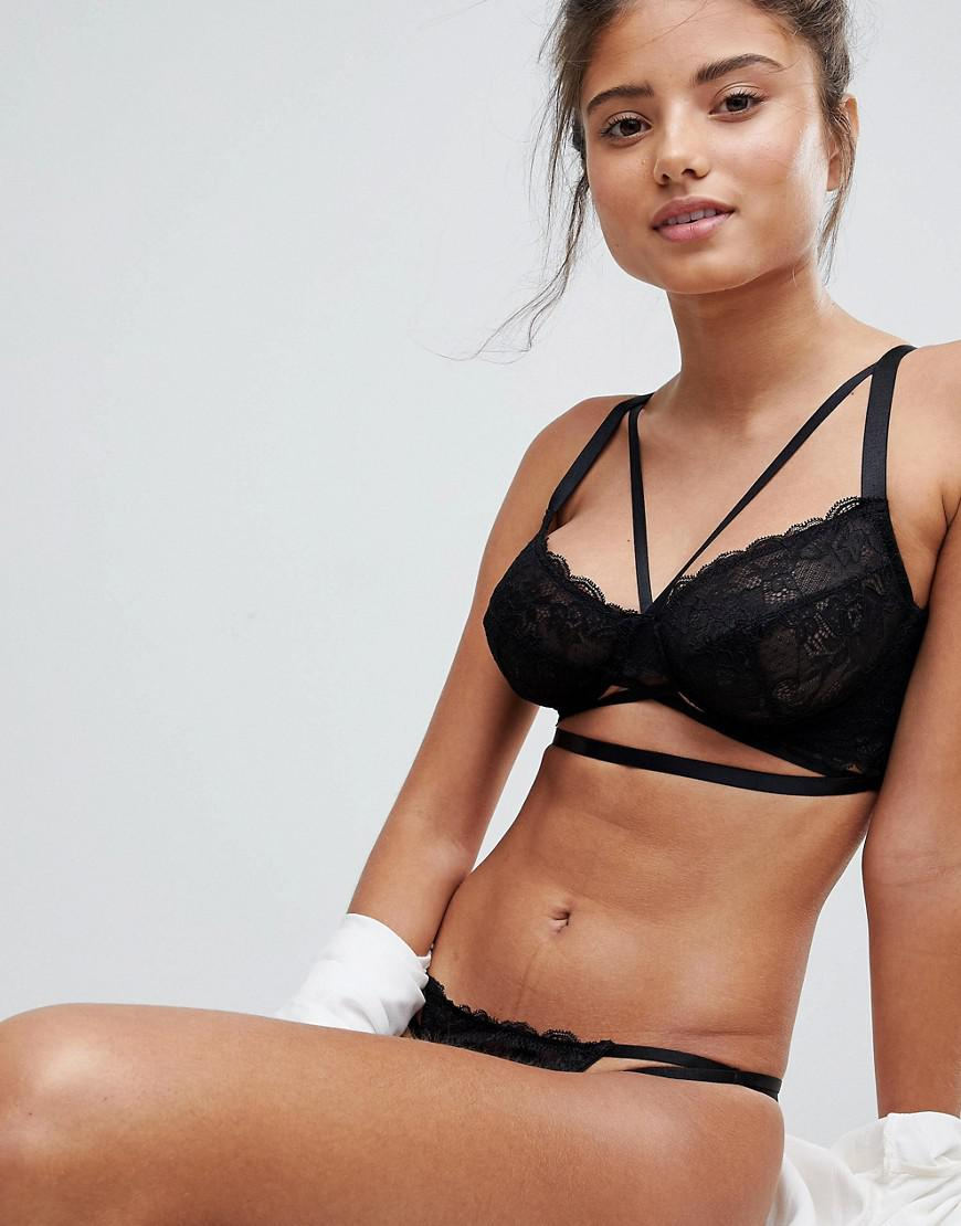 b22fe7bab490d ASOS Asos Fuller Bust Becca Strappy Lace Underwire Bra in Black - Lyst