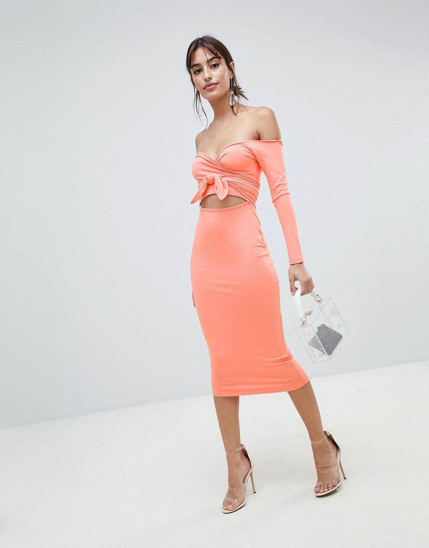 ASOS DESIGN bow front cut out midi dress Clearance Shopping Online Best Seller Cheap Sale Comfortable Nyqh8k3Lws