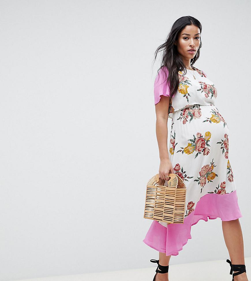 d5f112cc3b81 ASOS Asos Design Maternity Nursing Double Layer Midi Dress In Floral ...