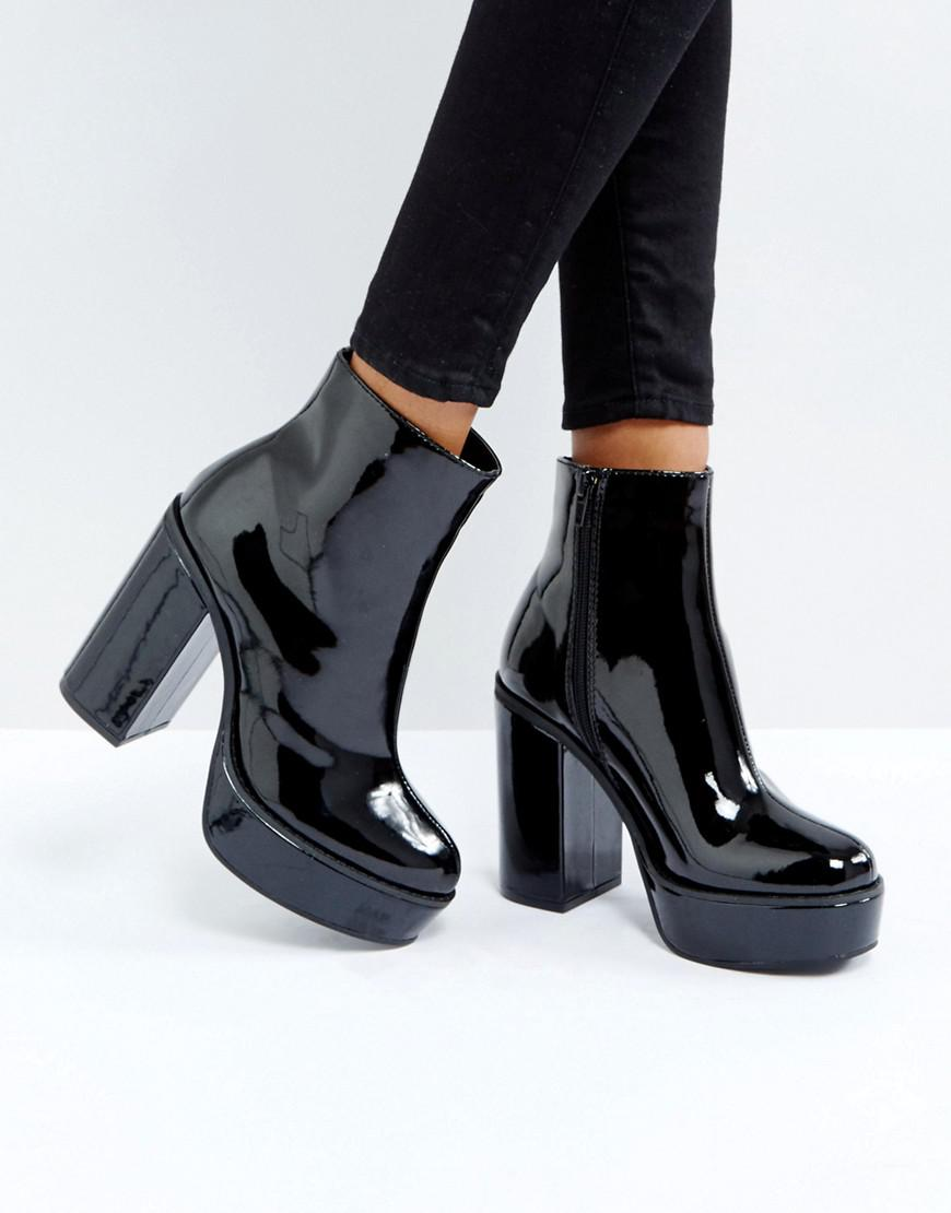 80c4826922c Lyst - London Rebel Patent Platform Boots in Black