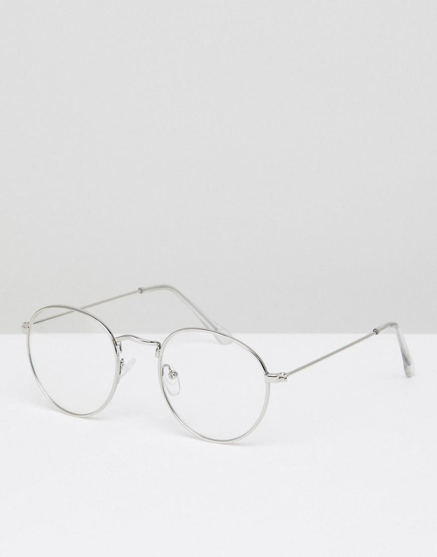512e16b154 Lyst - ASOS Round Glasses In Silver Metal With Clear Lens in ...