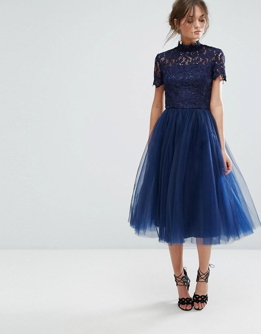 undefeated x variety design good texture Chi Chi London Blue High Neck Lace Midi Dress With Tulle Skirt