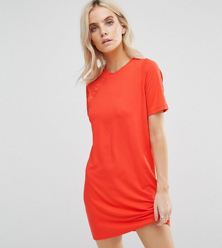 521832e679 Lyst - Asos Mini T-shirt Dress With Button Detail in Orange