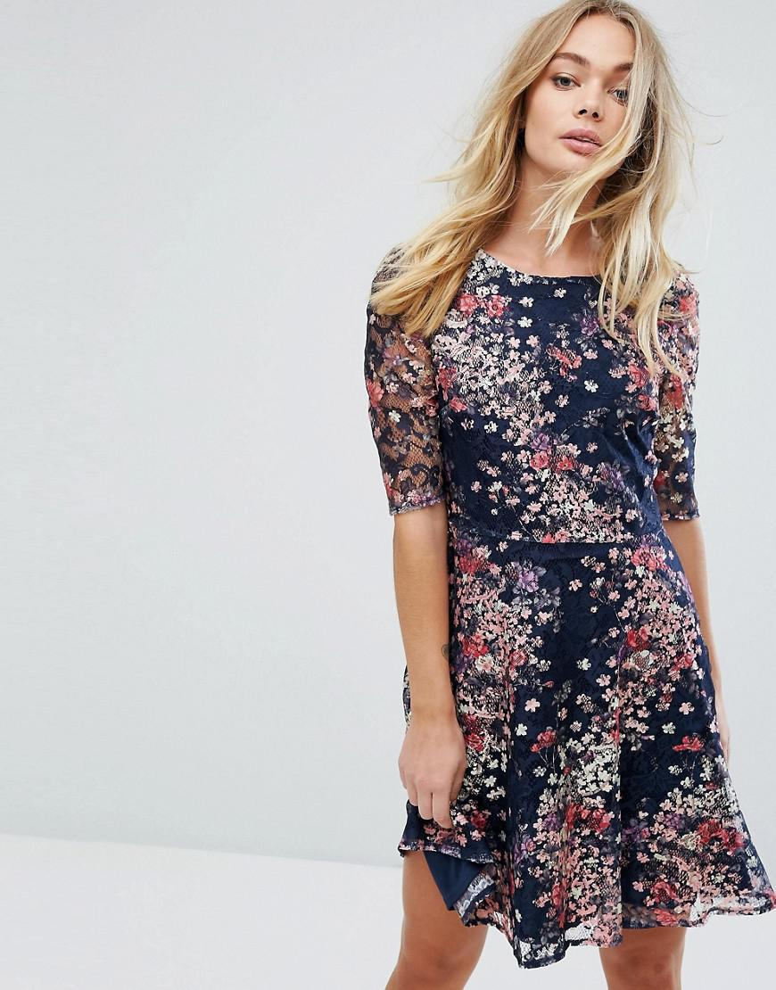 d0b61ce8568e Oasis Fluted Sleeve Floral Printed Lace Skater Dress in Blue - Lyst