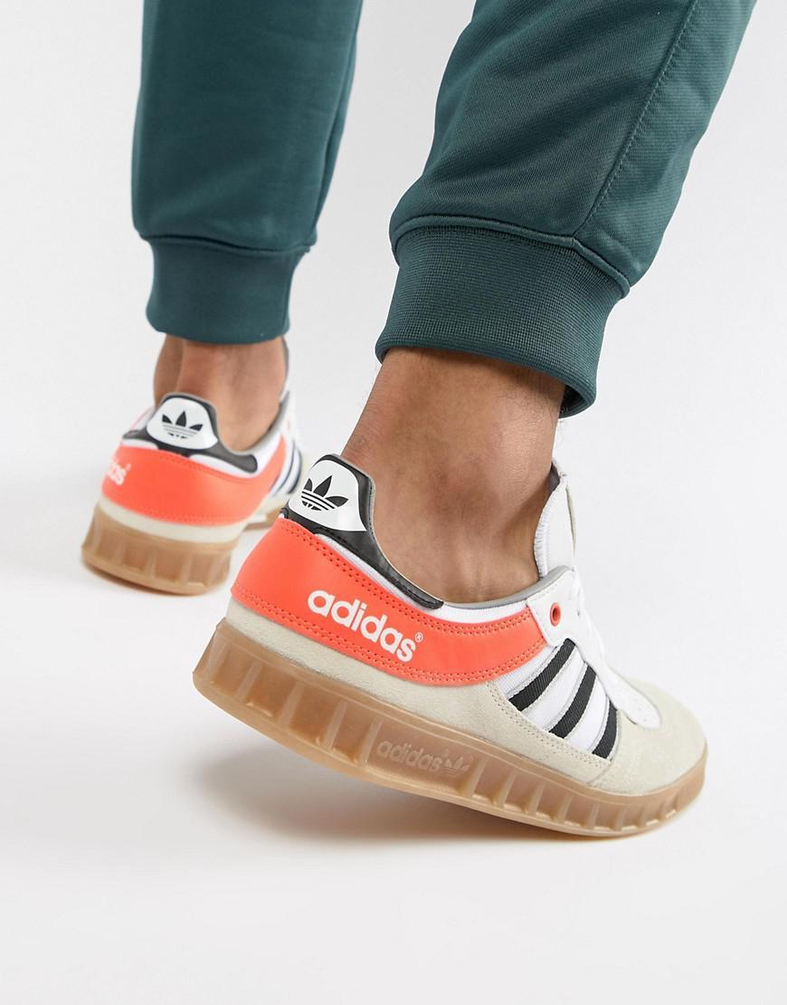 af9d5bedf97215 adidas Originals. Men s Natural Handball Spezial Sneakers In Beige Aq0905