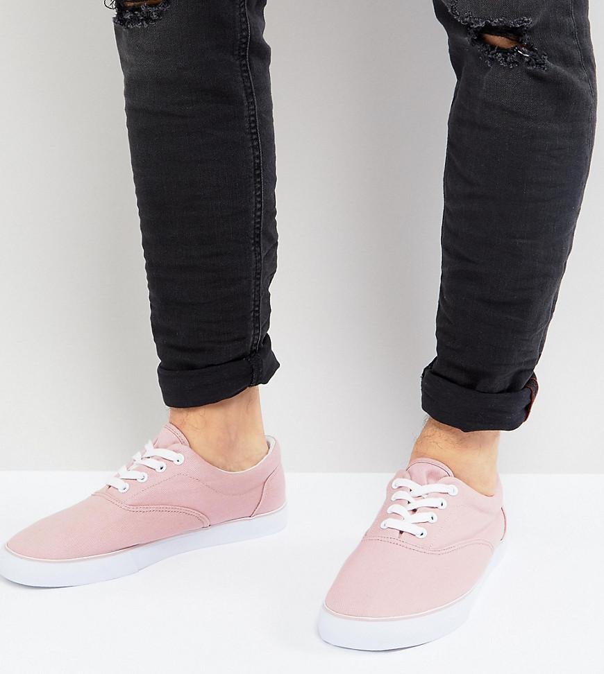 ASOS Wide Fit Lace Up Plimsolls In Pink Canvas discount amazing price vlkB3rIC