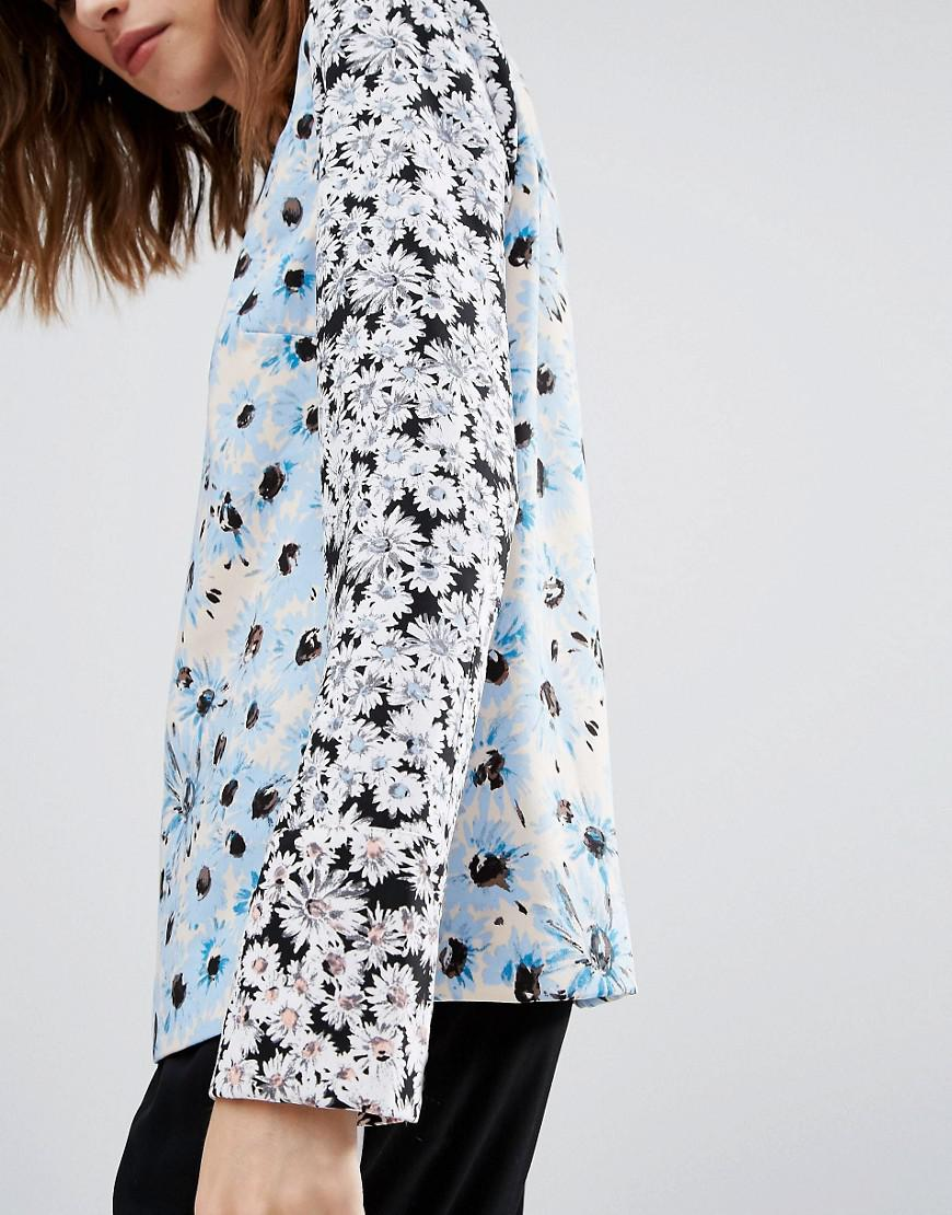 Warehouse Mixed Floral Print Blouse in Blue | Lyst