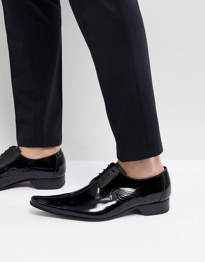 Jeffery Ouest Laser Couture Centre Pino Chaussures De Coupe - Noir A2EKbf
