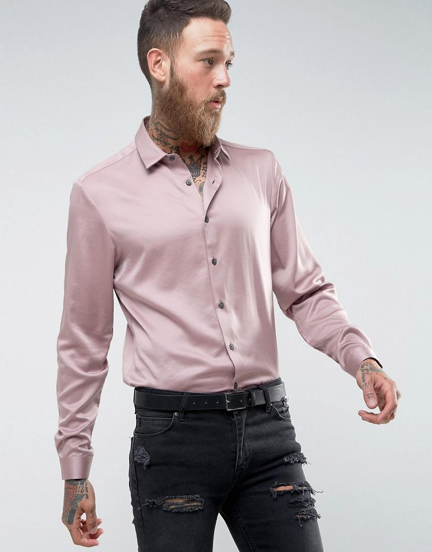 549567e18f7 Lyst - ASOS Regular Fit Sateen Shirt In Dusty Pink in Pink for Men
