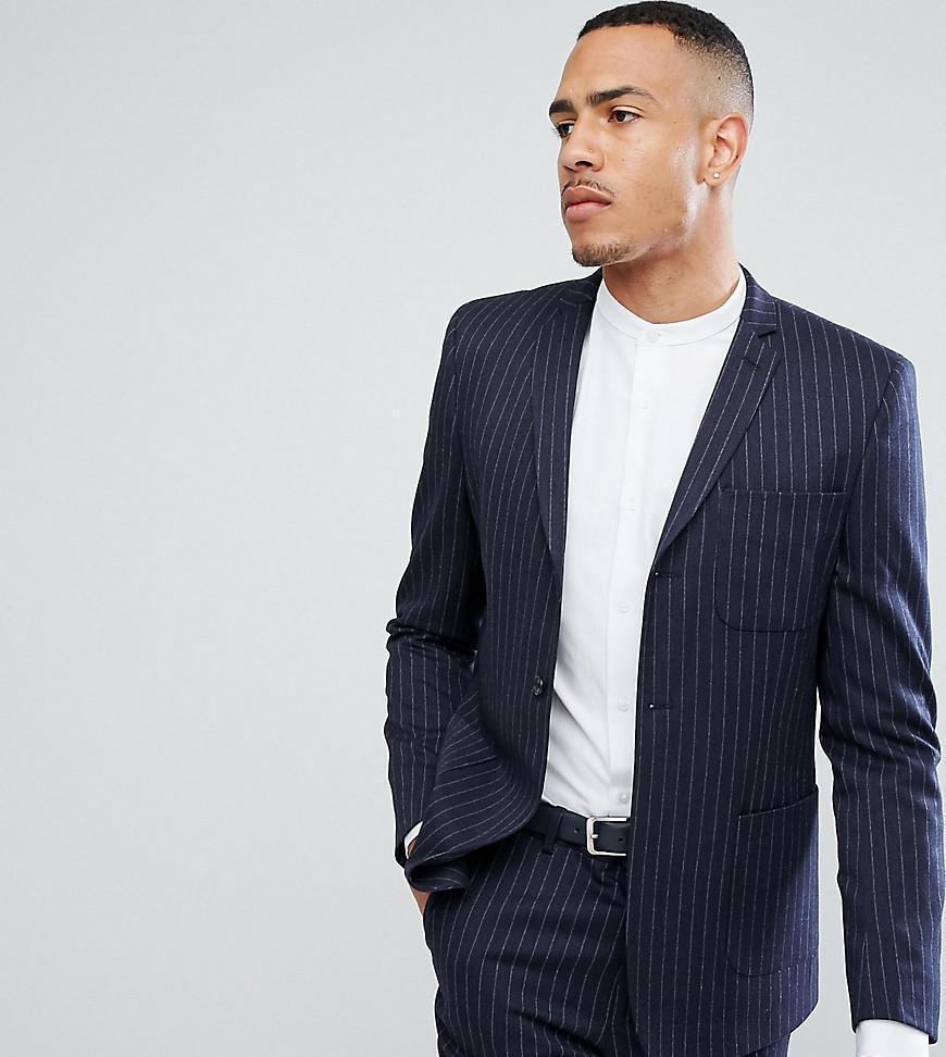 ASOS. Men's Blue Tall Skinny Suit Jacket In Navy Pinstripe