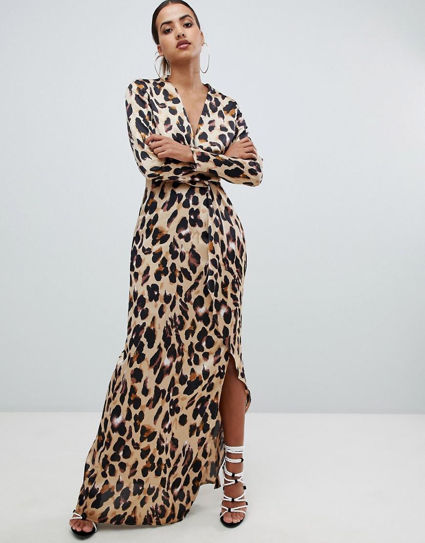 d087234a9a Missguided Twist Wrap Maxi Dress In Leopard - Lyst