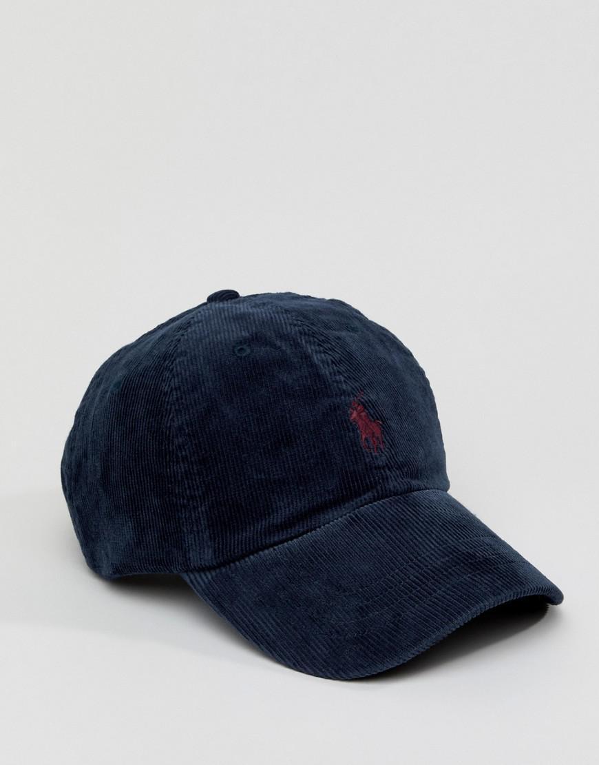 e4ff1b960ba Polo Ralph Lauren Multi Player Logo Cord Baseball Cap In Navy in ...