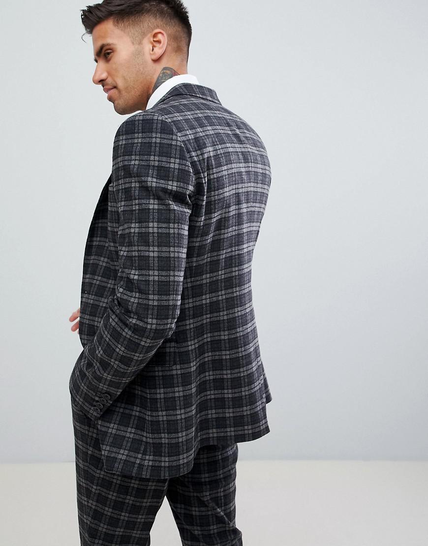 a6422b16d26c7 Lyst - ASOS Super Skinny Suit Jacket In Tonal Gray Check in Gray for Men
