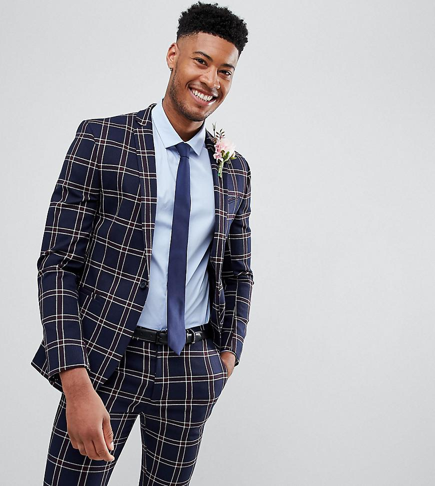 36371fa60 ASOS. Men s Blue Tall Wedding Super Skinny Suit Jacket In Navy Waffle Check