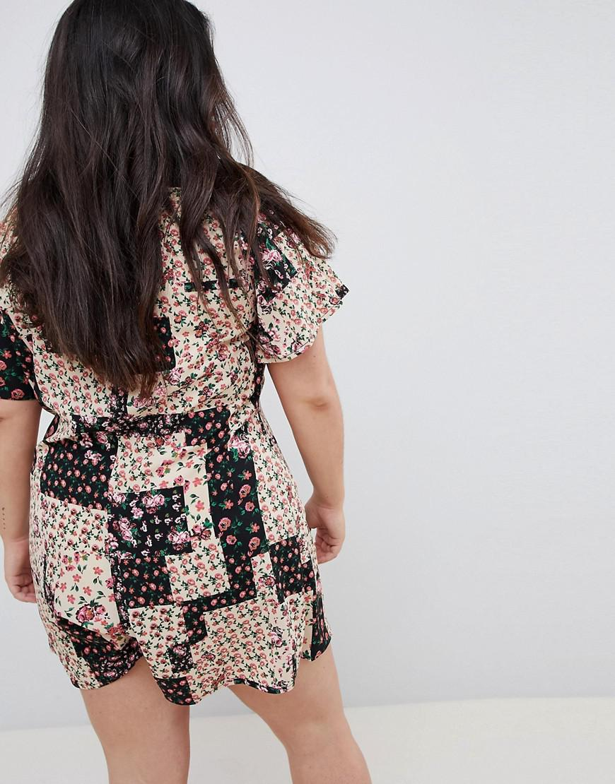 1a408341ad90c Lyst - ASOS Asos Design Curve Swing Playsuit With Button Front In Patchwork  Floral Print