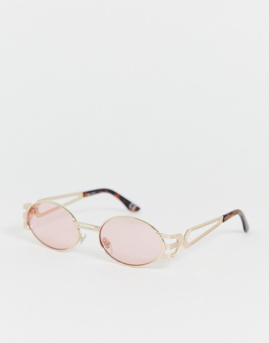 ecaf21c5c3 ASOS - Pink Gafas de sol estrechas y ovaladas con lentes rosas y detalle de  patillas. Ver en pantalla completa