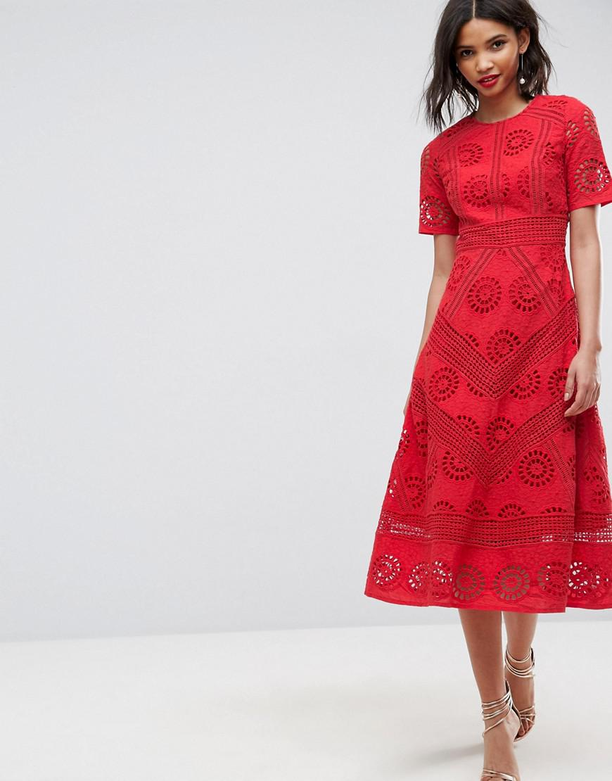 6b7b8888924 ASOS Premium Midi Dress In Broderie Fabric in Red - Lyst