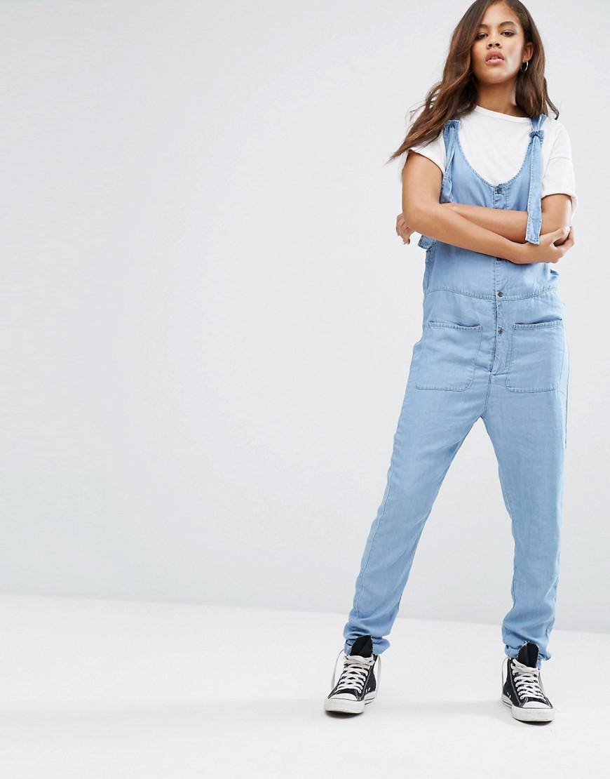 ddc5fdbaf9 Noisy May Tall Chambray Button Through Jumpsuit in Blue - Lyst