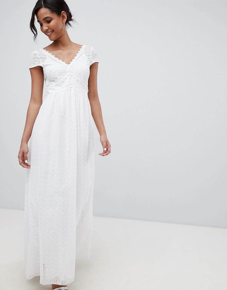 89278f392fa Little Mistress Allover Broderie Plunge Front Maxi Dress In White in ...