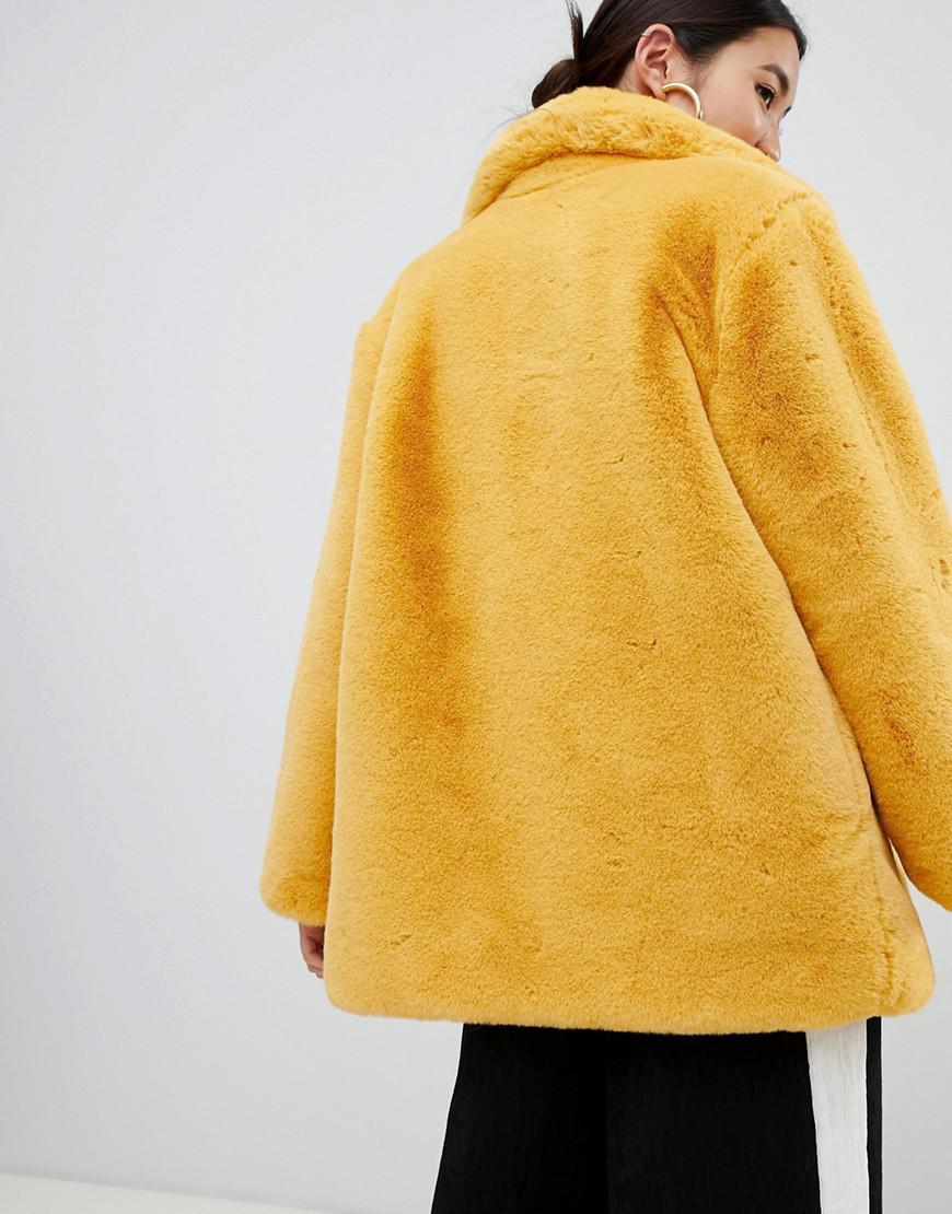 81a811fe098 Women s Yellow Oversized Faux Fur Coat In Mustard