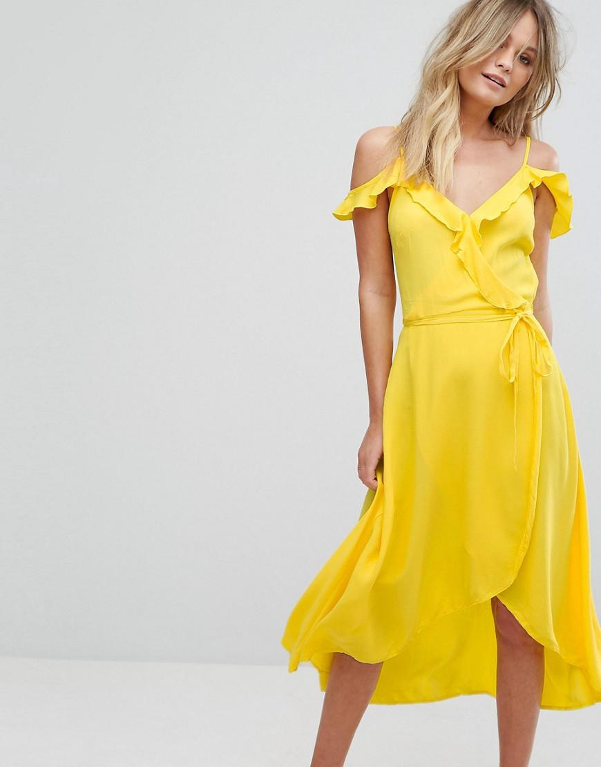 New Look Frill Wrap Midi Dress In Yellow Lyst