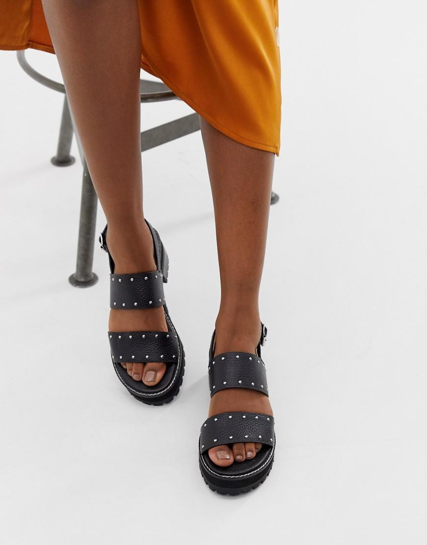 0b181a69ad Lyst - ASOS Fenrick Premium Chunky Leather Studded Flat Sandals in Black