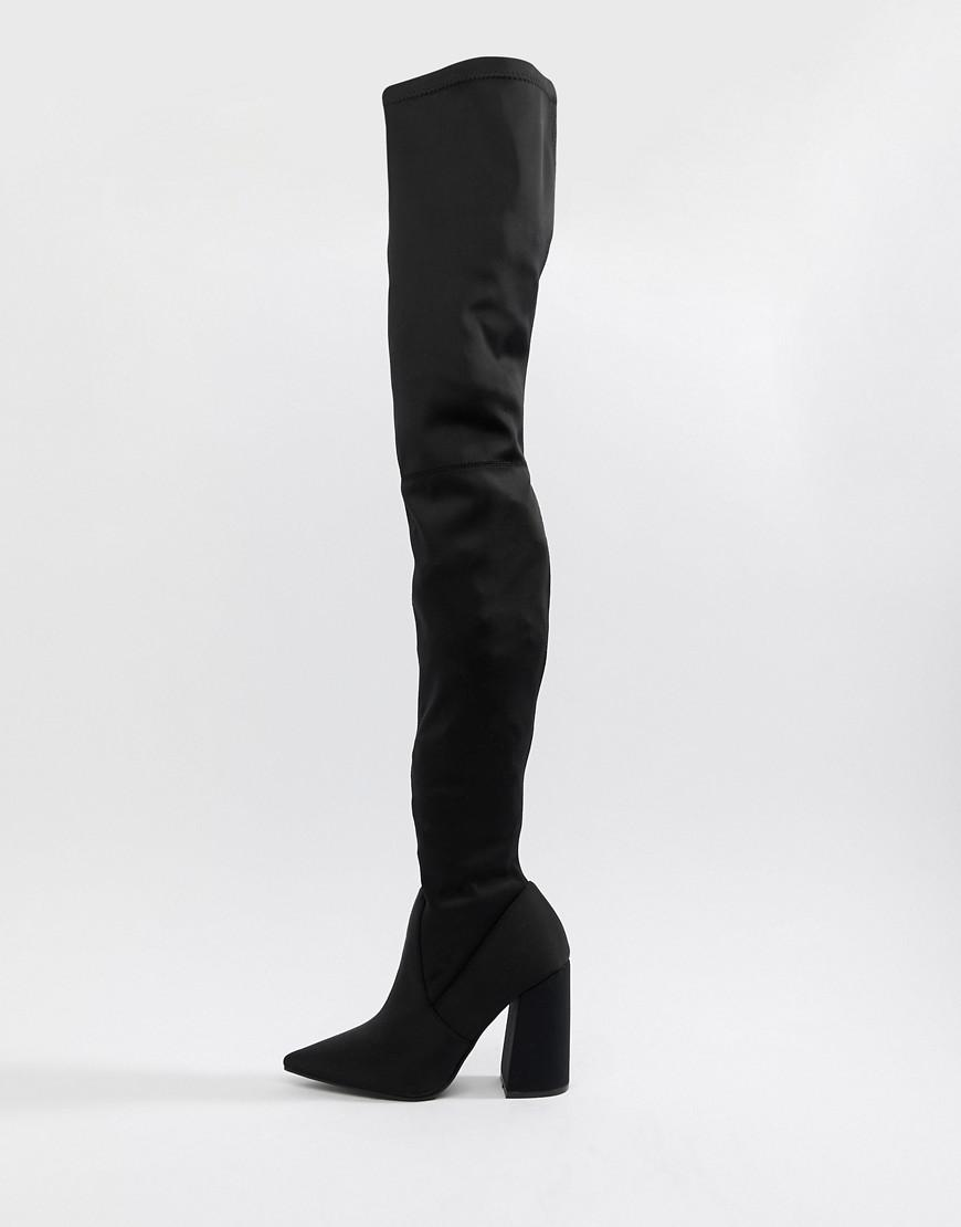 b8f0d60a908 Lyst - ASOS Kera Pointed Thigh High Boots in Black