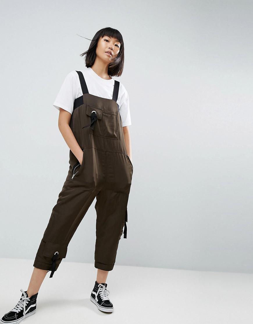 Satin Padded Military Jumpsuit - Khaki Asos Sale Original Amazon Cheap Online 7MiaRKU0