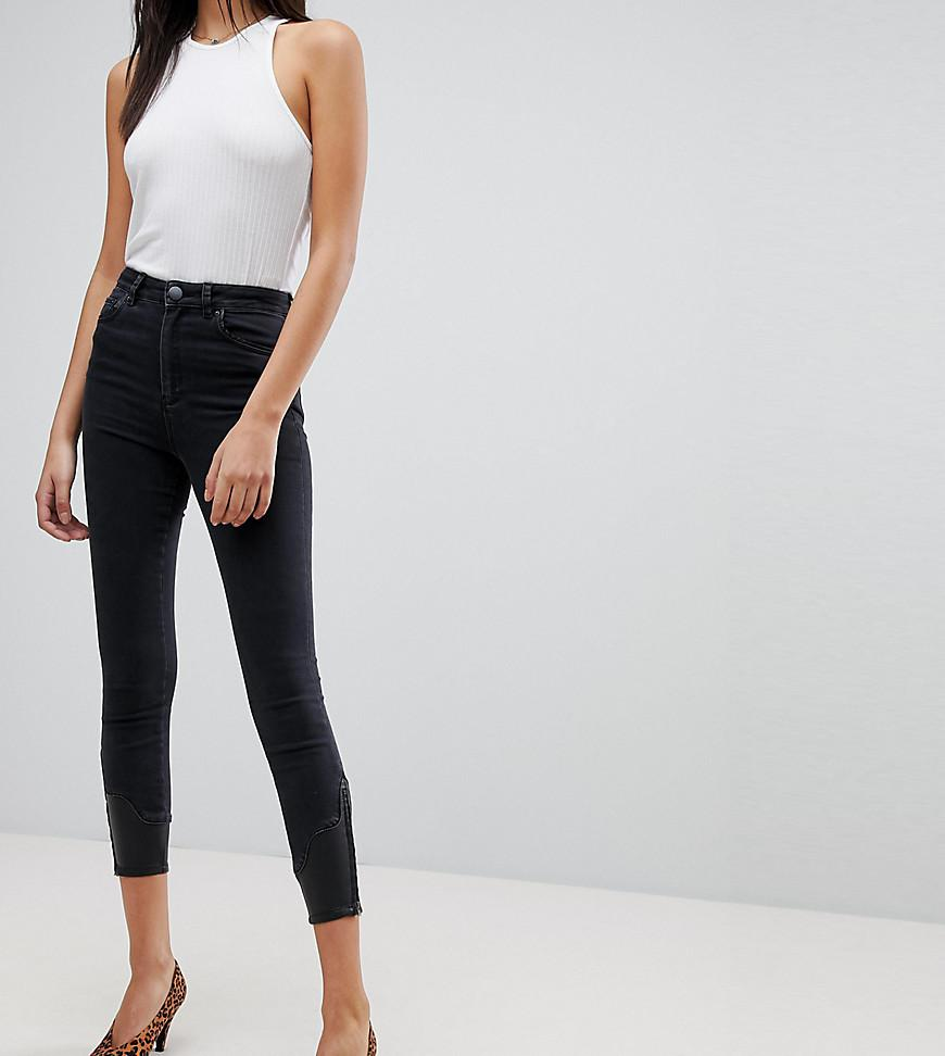 ASOS DESIGN Tall Ridley high waist skinny jeans in washed black with leather look western hem detail - Washed black Asos Tall czORy
