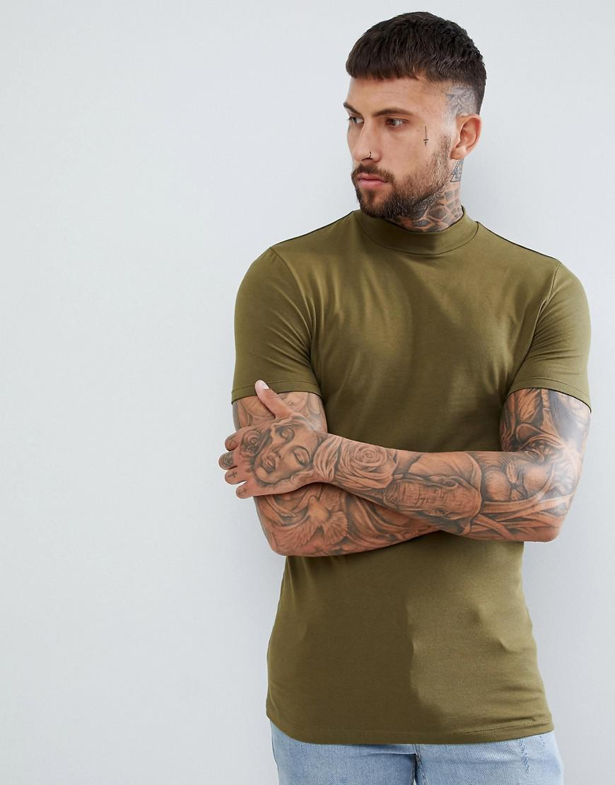 e8cdbf38e4055 ASOS Muscle Fit T-shirt With Turtle Neck In Khaki in Green for Men ...