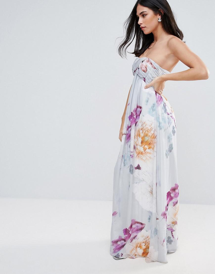 e3ff7b419b Lyst - Little Mistress Little Misress Bandeau Maxi Dress In Floral Print