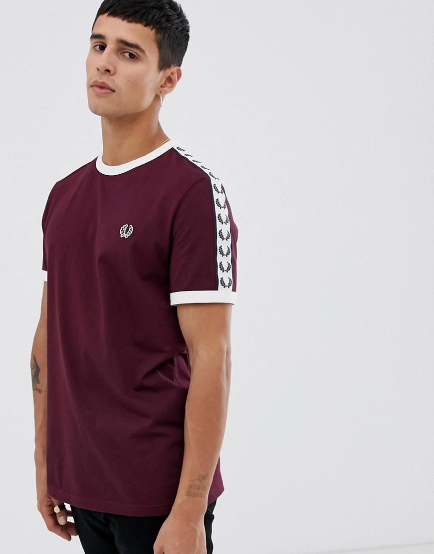 5f46697db Lyst - Fred Perry Sports Authentic Taped Ringer T-shirt In Burgundy ...
