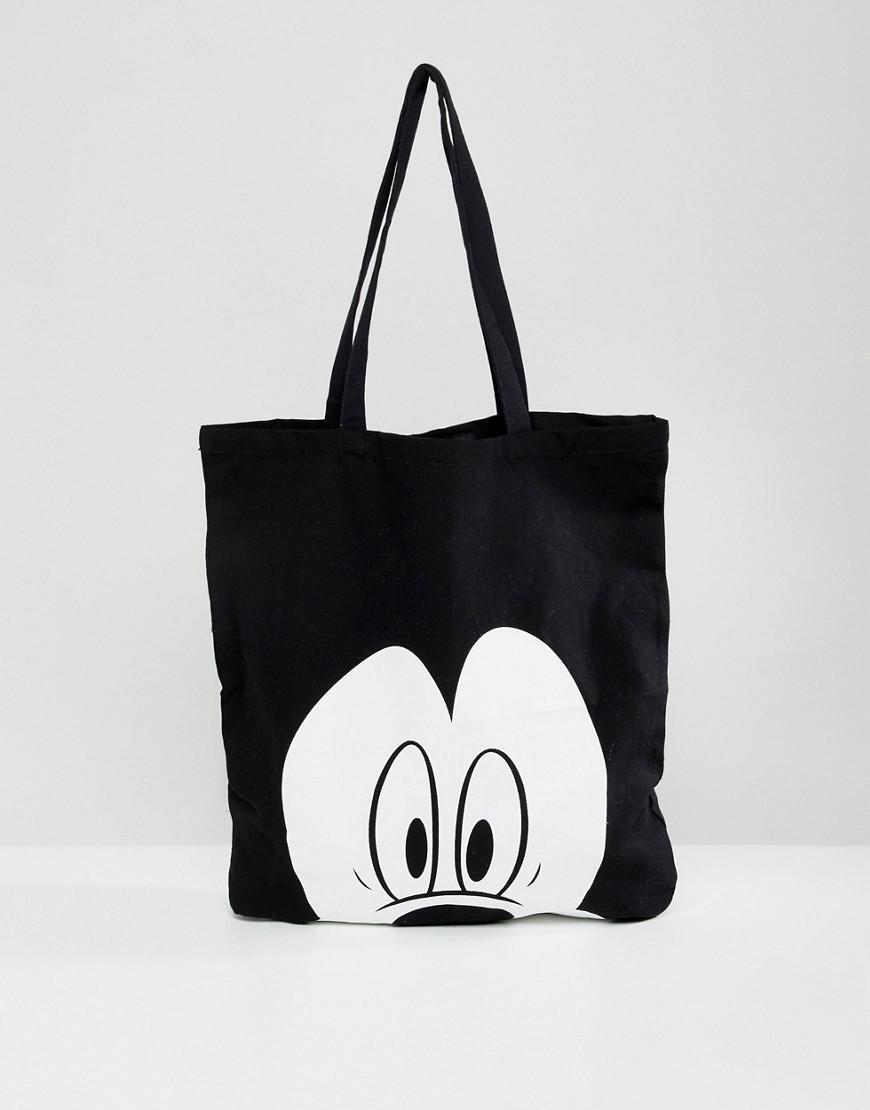 Bershka Mickey Mouse Shopper in Black - Lyst 1ff9d35fd62a6