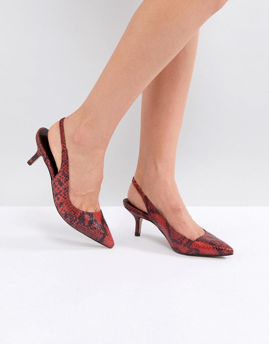 Carvela Aim Snake Print Leather D'Orsay Kitten Heels