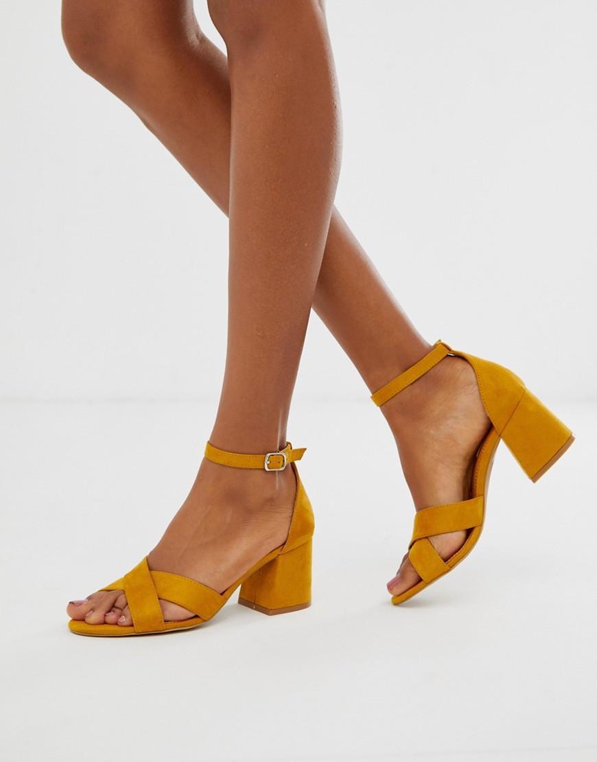 dfd9d9b298a Lyst - Pull Bear Block Heel Sandal With Cross Front In Mustard in Brown