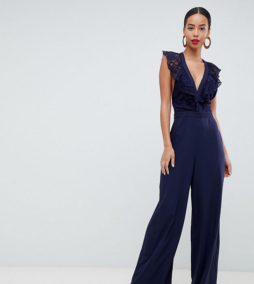 1055c3332f66 ASOS Wrap Lace Jumpsuit With Wide Leg in Blue - Lyst