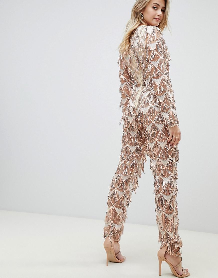 3224f84a31ee PrettyLittleThing Tassel Sequin Jumpsuit In Gold in Metallic - Lyst
