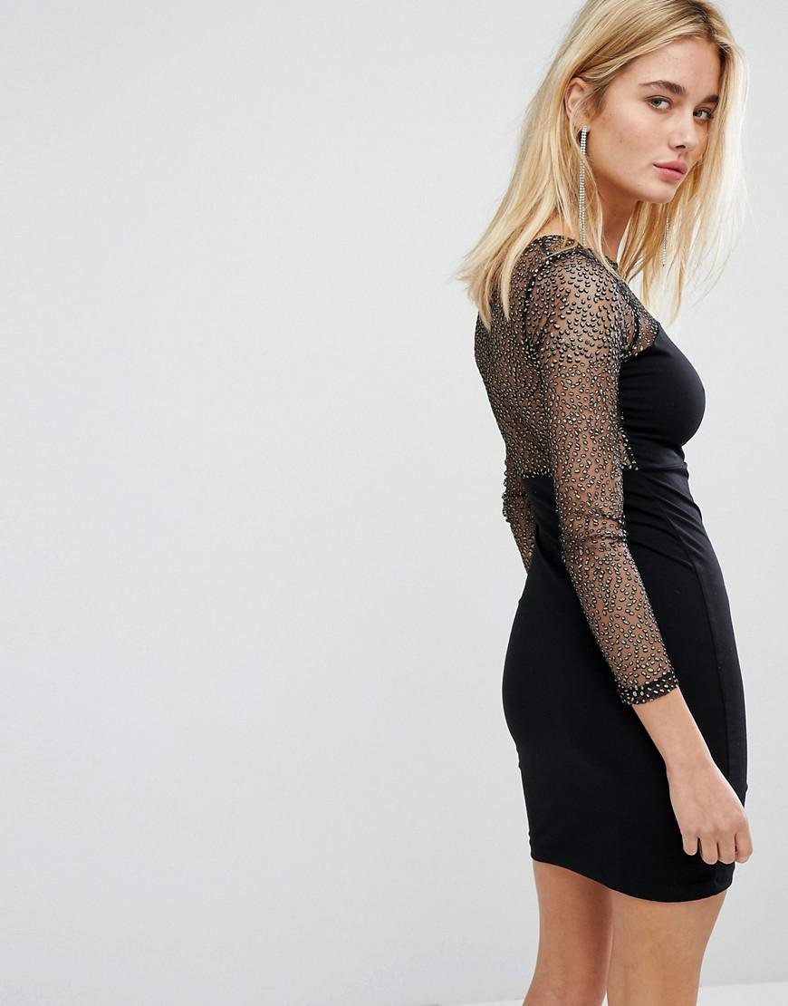 5650a8cb94 Lyst - Motel Bodycon Dress With Plunge Front And Sparkle Mesh Top in ...