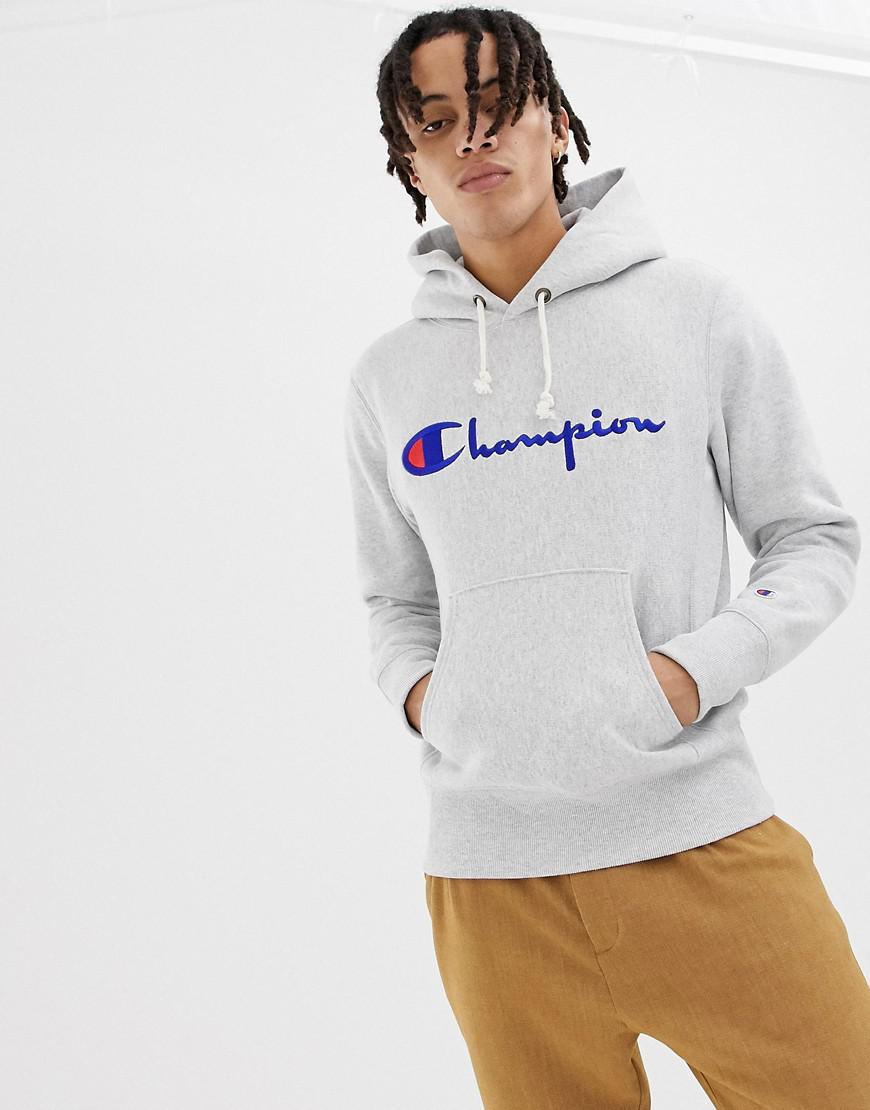 760a9c8c475 Champion - Gray Reverse Weave Hoodie With Large Logo for Men - Lyst. View  fullscreen