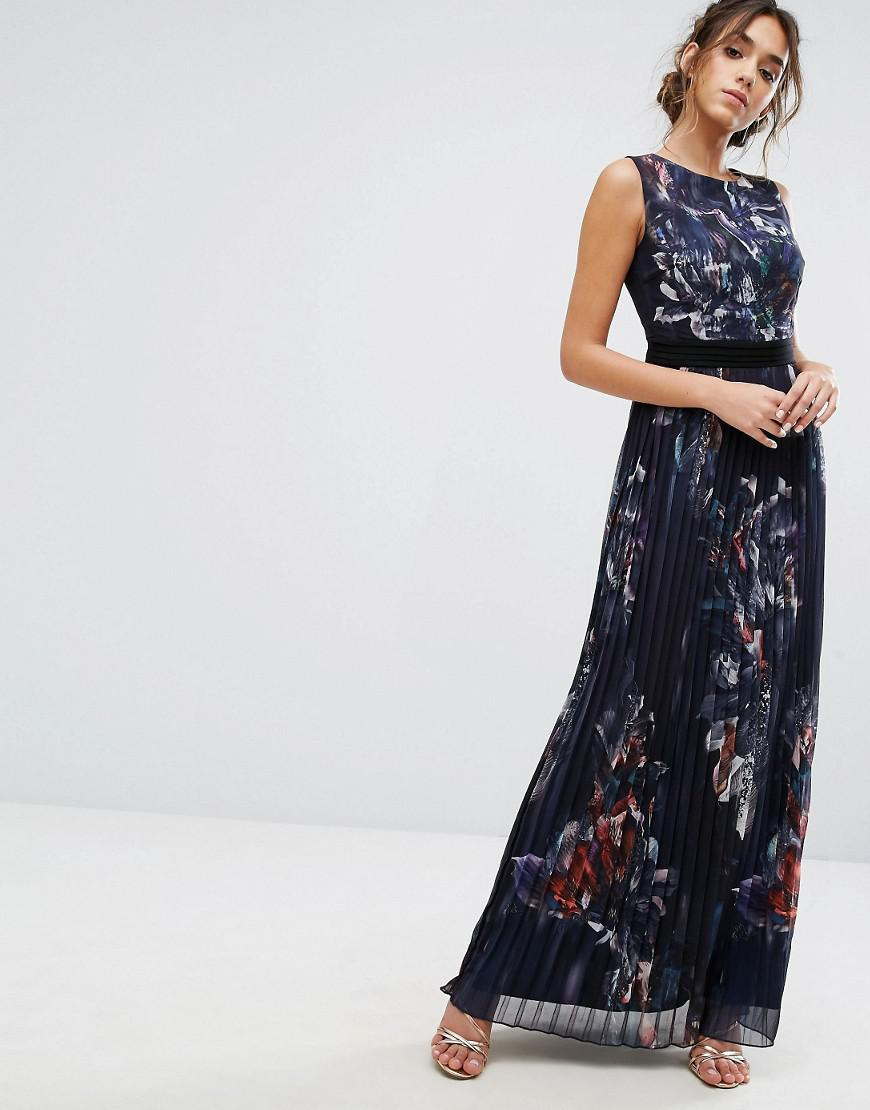 74f81ed767ff Lyst - Little Mistress Pleated Maxi Dress In Navy Floral in Blue