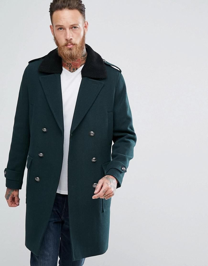 a4765b3a1f5 ASOS Asos Wool Mix Trench Coat With Fleece Collar In Bottle Green in ...